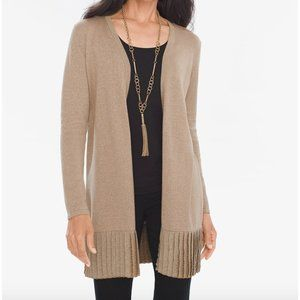 Chico's Taupe Pleated Lurex Long Cardigan M NWT